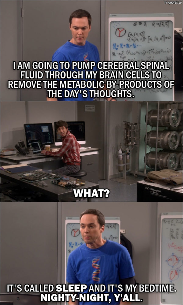 The Big Bang Theory Quote from 10x03 - Sheldon Cooper: I am going to pump cerebral spinal fluid through my brain cells to remove the metabolic by-products of the day's thoughts. Howard Wolowitz: What? Sheldon Cooper: It's called sleep and it's my bedtime. Nighty-night, y'all.