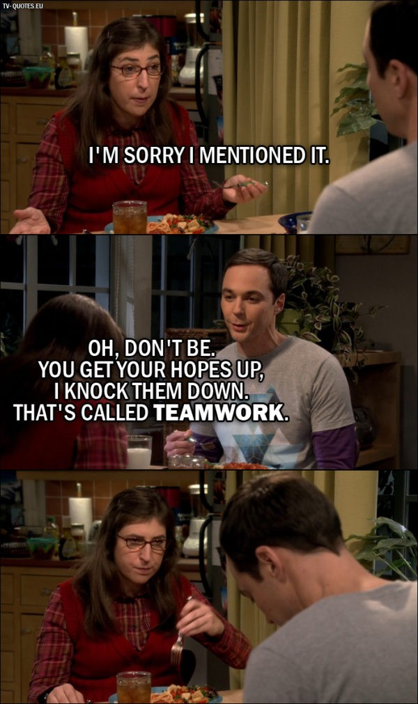 The Big Bang Theory Quote from 10x06 - Amy Farrah Fowler: I'm sorry I mentioned it. Sheldon Cooper: Oh, don't be. You get your hopes up, I knock them down. That's called teamwork.