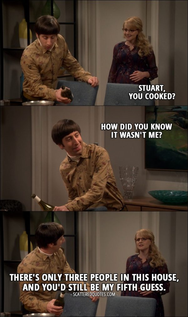 17 Best The Big Bang Theory Quotes from 'The Property Division Collision' (10x10) - Bernadette Rostenkowski-Wolowitz: Stuart, you cooked? Howard Wolowitz: How did you know it wasn't me? Bernadette Rostenkowski-Wolowitz: There's only three people in this house, and you'd still be my fifth guess.