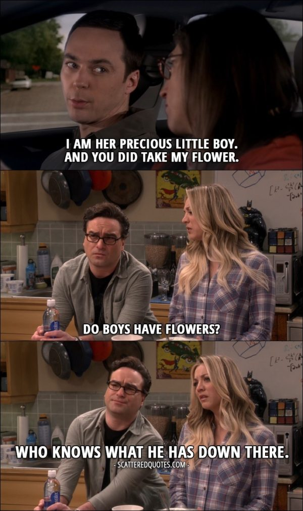 15 Best The Big Bang Theory Quotes from 'The Holiday Summation' (10x12) - Sheldon Cooper (to Amy about his mother): I am her precious little boy. And you did take my flower. Penny Hofstadter (to Leonard): Do boys have flowers? Leonard Hofstadter: Who knows what he has down there.
