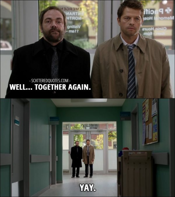 12 Best Supernatural Quotes from 'Rock Never Dies' (12x07) - Crowley: Well... together again. Castiel: Yay.