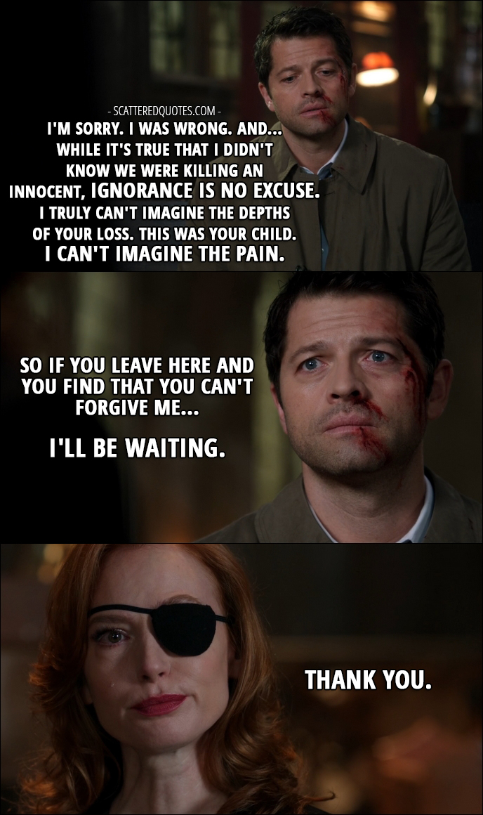 12 Best Supernatural Quotes from 'Lily Sunder Has Some Regrets' (12x10) - Castiel: I'm sorry. I was wrong. And...while it's true that I didn't know we were killing an innocent, ignorance is no excuse. I truly can't imagine the depths of your loss. This was your child. I can't imagine the pain. So if you leave here and you find that you can't forgive me... I'll be waiting. Lily Sunder: Thank you.