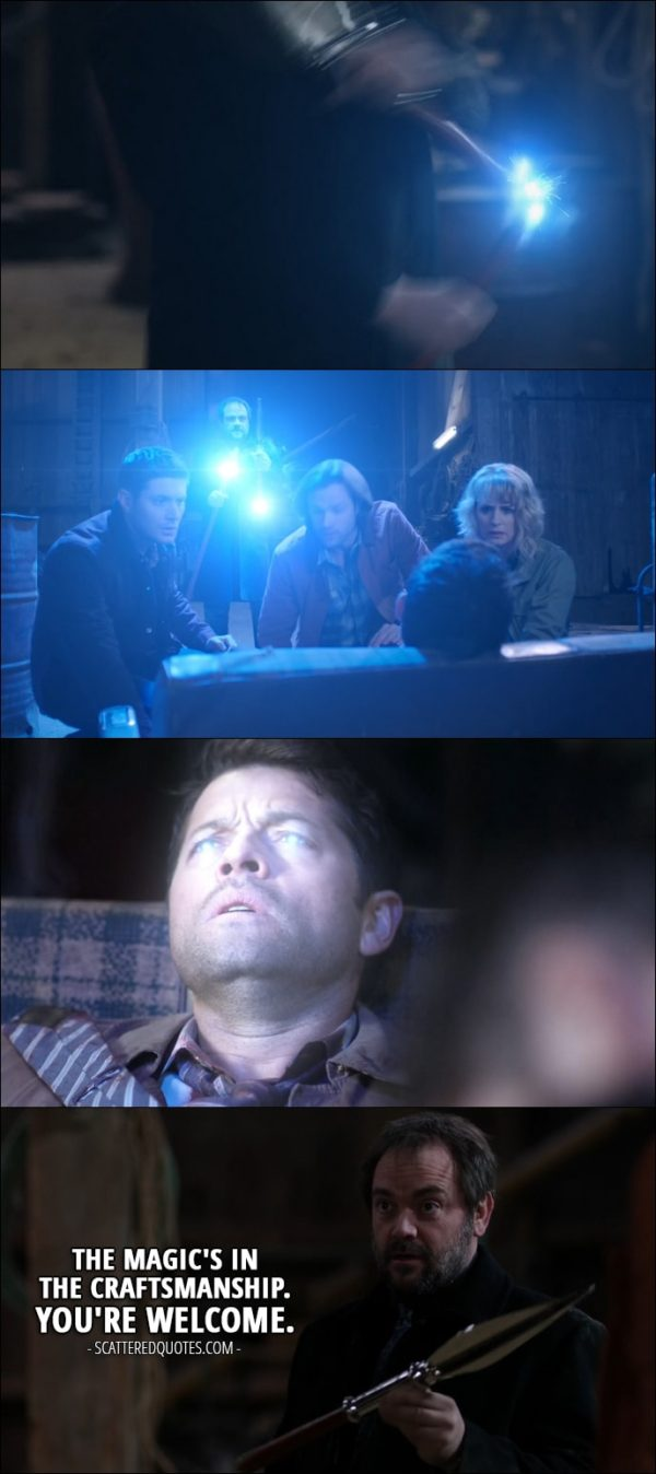 18 Best Supernatural Quotes from 'Stuck in the Middle (With You)' (12x12) - Crowley (after saving Castiel): The magic's in the craftsmanship. You're welcome.