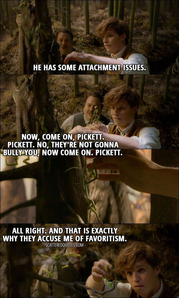 Quotes from Fantastic Beasts and Where to Find Them (2016) - Newt Scamander (to Jacob): He has some attachment issues. (to Pickett): Now, come on, Pickett. Pickett. No, they're not gonna bully you, now come on. Pickett. All right. And that is exactly why they accuse me of favoritism.