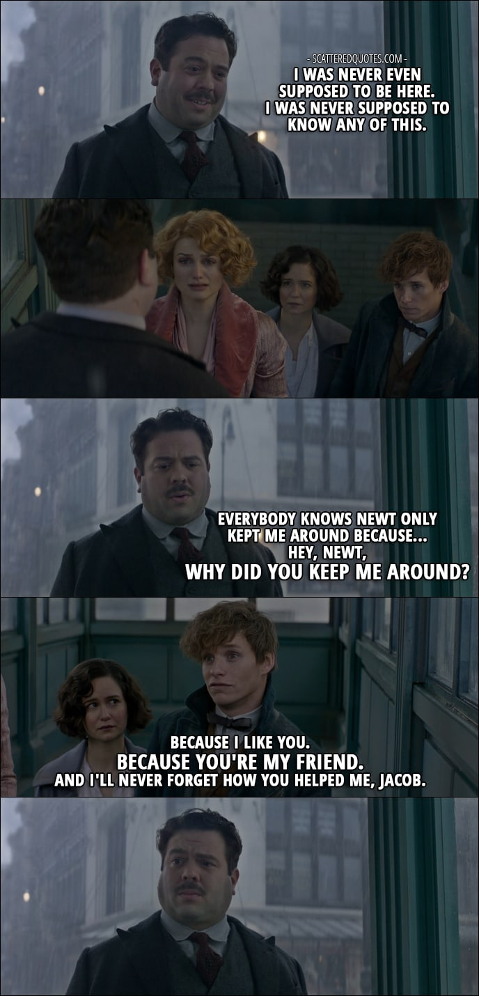 Quotes from Fantastic Beasts and Where to Find Them (2016) - Jacob Kowalski: I was never even supposed to be here. I was never supposed to know any of this. Everybody knows Newt only kept me around because... Hey, Newt, why did you keep me around? Newt Scamander: Because I like you. Because you're my friend. And I'll never forget how you helped me, Jacob.