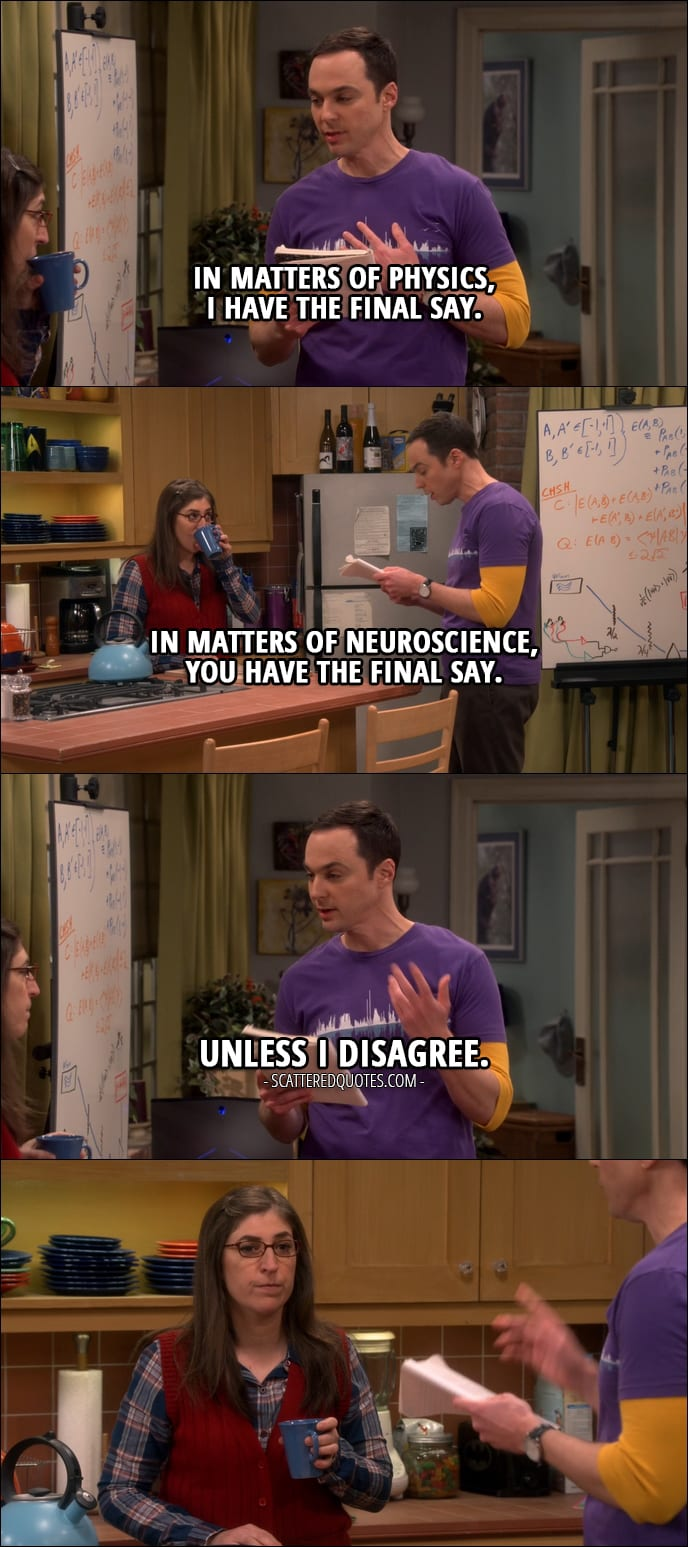 10 Best The Big Bang Theory Quotes from 'The Collaboration Fluctuation' (10x19) - Sheldon Cooper (to Amy): I believe I've made some progress on our ground rules. Number one: in matters of physics, I have the final say. In matters of neuroscience, you have the final say. Unless I disagree.