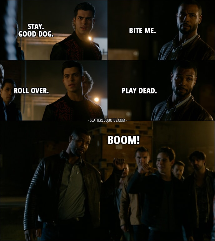 Quote from Shadowhunters 1x09 - Raphael Santiago: Stay. Good dog. Luke Garroway: Bite me. Raphael Santiago: Roll over. Luke Garroway: Play dead. Simon Lewis: Boom!
