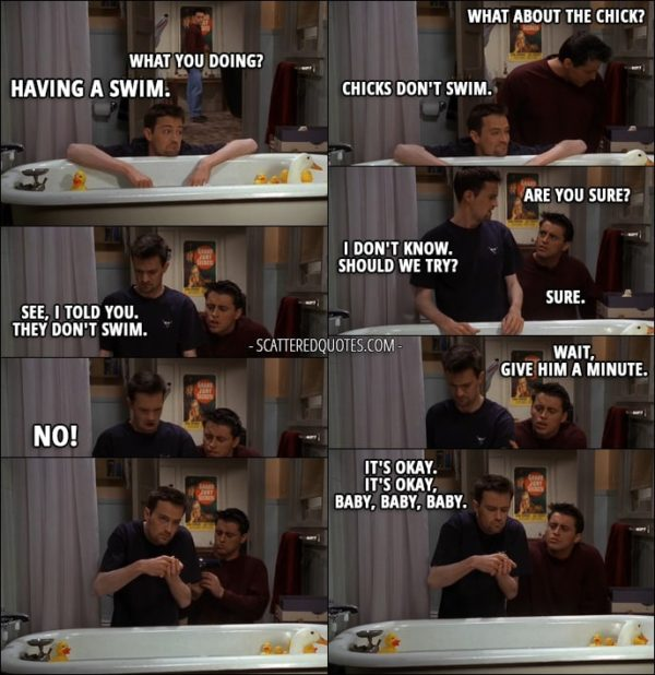 Quote from Friends 3x21 - Joey Tribbiani: What you doing? Chandler Bing: Having a swim. Joey Tribbiani: What about the chick? Chandler Bing: Chicks don't swim. Joey Tribbiani: Are you sure? Chandler Bing: I don't know. Should we try? Joey Tribbiani: Sure. Chandler Bing: See, I told you. They don't swim. Joey Tribbiani: Wait, give him a minute. Chandler Bing: No! It's okay. It's okay, baby, baby, baby.
