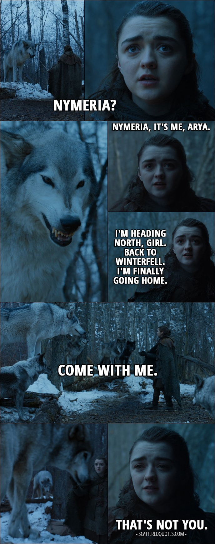 Quote from Game of Thrones 7x02 - Arya Stark: Nymeria? Nymeria, it's me, Arya. I'm heading north, girl. Back to Winterfell. I'm finally going home. Come with me. Come with me. That's not you.