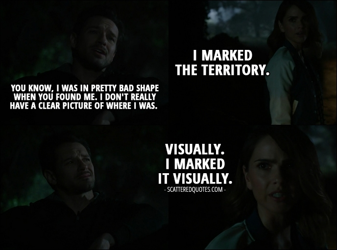 Quote from Teen Wolf 6x07 - Peter Hale: You know, I was in pretty bad shape when you found me. I don't really have a clear picture of where I was. Malia Tate: I marked the territory. (Peter makes a face) Visually. I marked it visually.