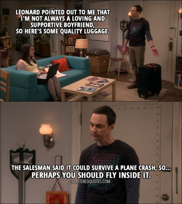 Quote from The Big Bang Theory 10x23 - Sheldon Cooper: Leonard pointed out to me that I'm not always a loving and supportive boyfriend, so here's some quality luggage. Amy Farrah Fowler: Thank you. Sheldon Cooper: The salesman said it could survive a plane crash, so... Perhaps you should fly inside it.