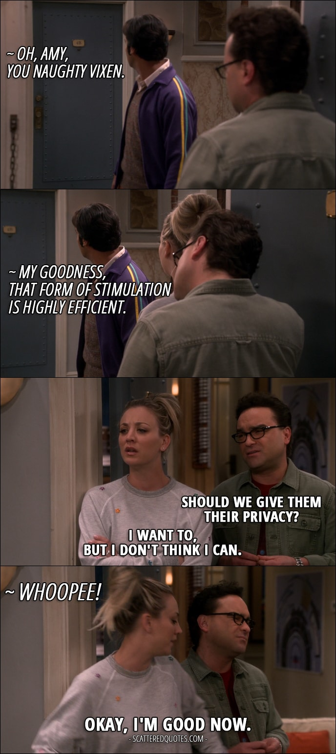 Quote from The Big Bang Theory 10x23 - Sheldon Cooper: Oh, Amy, you naughty vixen. Amy Farrah Fowler: My goodness, that form of stimulation is highly efficient. Leonard Hofstadter: Should we give them their privacy? Penny Hofstadter: I want to, but I don't think I can. Sheldon Cooper: Whoopee! Penny Hofstadter: Okay, I'm good now.