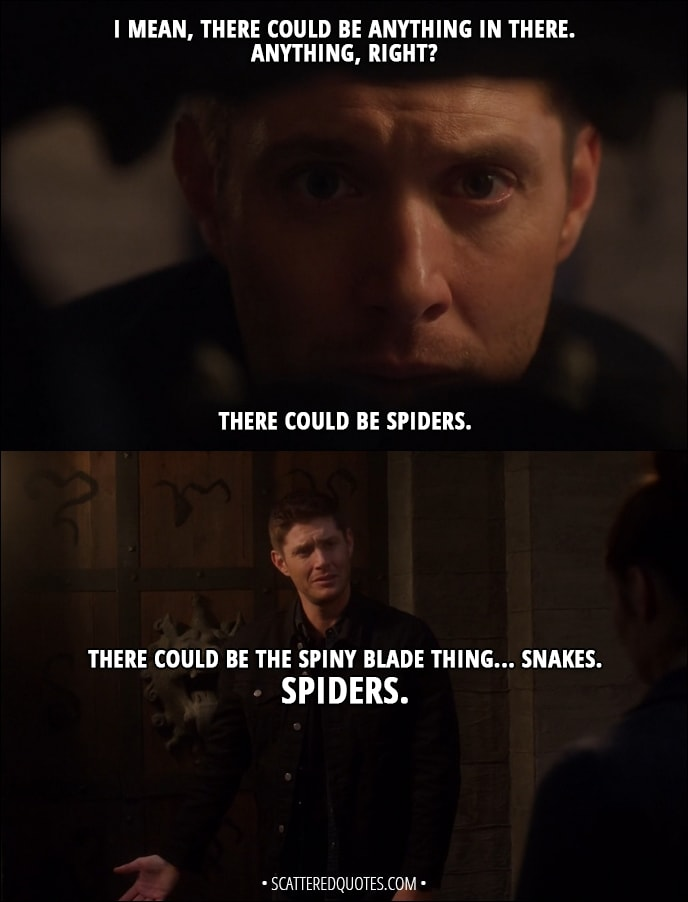 Quote from Supernatural 13x08 - Dean Winchester: I mean, there could be anything in there. Anything, right? There could be spiders. There could be the spiny blade thing... Snakes. Spiders.