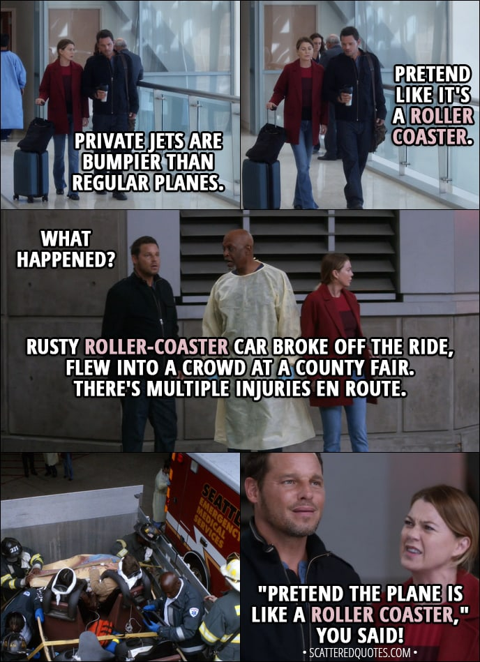 "Quote from Grey's Anatomy 14x07 - Meredith Grey: Private jets are bumpier than regular planes. Alex Karev: All right, so pretend like it's a roller coaster. (Few minutes later...) Alex Karev: What happened? Richard Webber: Rusty roller-coaster car broke off the ride, flew into a crowd at a county fair. There's multiple injuries en route. Meredith Grey: ""Pretend the plane is like a roller coaster,"" you said! That's what you said to me!"