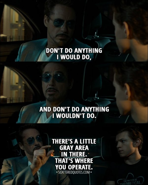 Quote from Spider-Man: Homecoming (2017) - Tony Stark: Don't do anything I would do, and don't do anything I wouldn't do. There's a little gray area in there. That's where you operate.