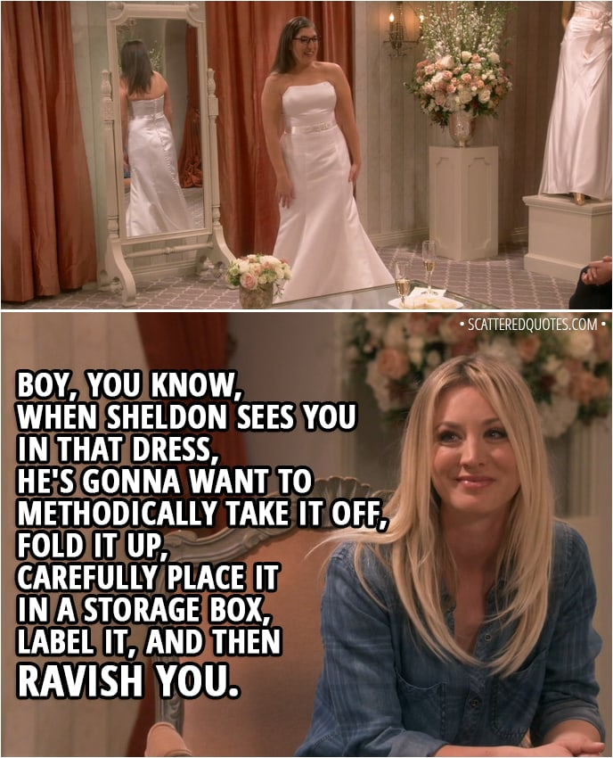 Quote from The Big Bang Theory 11x22 - Bernadette Rostenkowski-Wolowitz: Look at your waist. Where you been hiding that thing? Amy Farrah Fowler: Bernadette, stop. Penny, you say something nice now. Penny Hofstadter: Boy, you know, when Sheldon sees you in that dress, he's gonna want to methodically take it off, fold it up, carefully place it in a storage box, label it, and then ravish you.