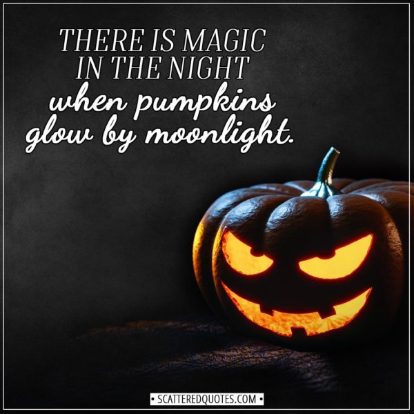 Halloween Quotes - There is magic in the night when pumpkins glow by moonlight. - Unknown