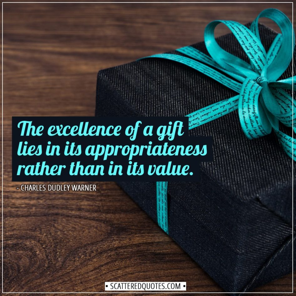 Christmas Quotes | The excellence of a gift lies in its appropriateness rather than in its value. - Charles Dudley Warner