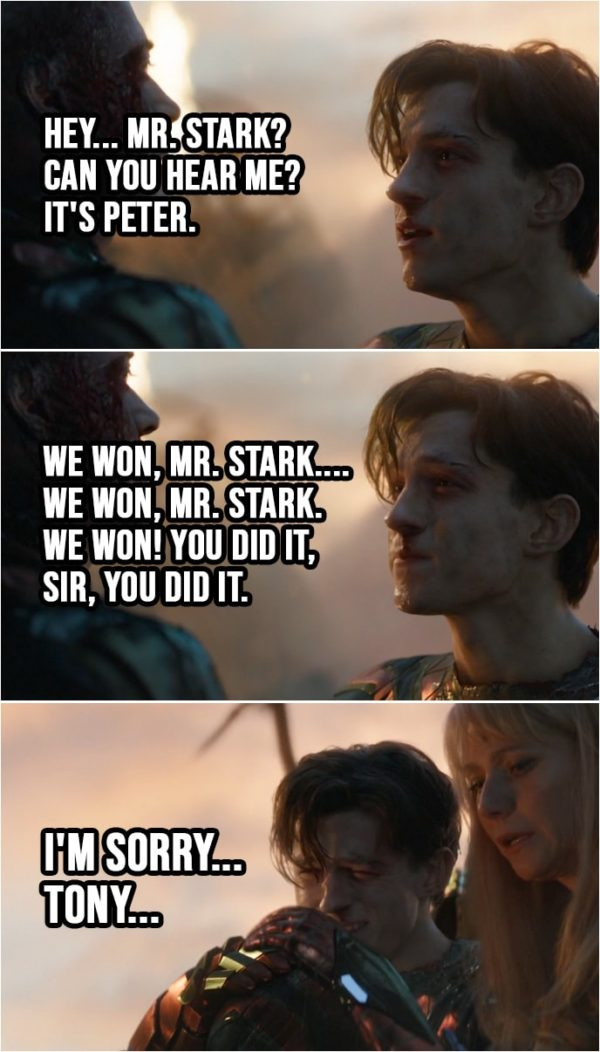 Quote from Avengers: Endgame (2019)   Peter Parker: Mr. Stark? Hey... Mr. Stark? Can you hear me? It's Peter. Hey. We won, Mr. Stark.... We won, Mr. Stark. We won! You did it, sir, you did it. I'm sorry... Tony...