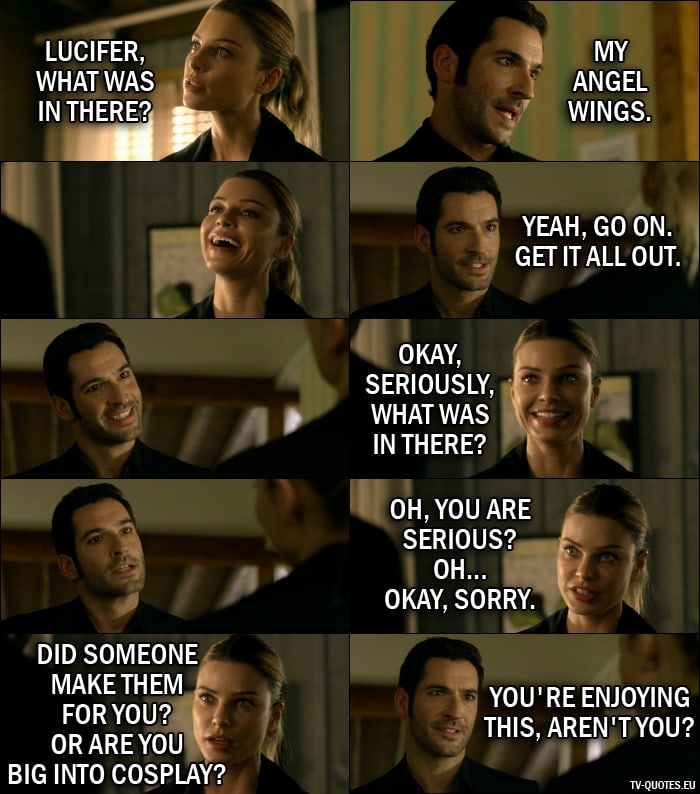 Quote from Lucifer 1x07 | Chloe Decker: Lucifer, what was in there? Lucifer Morningstar: My angel wings. (Chloe starts laughing) Yeah, go on. Get it all out. Chloe Decker: Okay, seriously, what was in there? Oh, you are serious? Oh... okay, sorry. Did someone make them for you? Or are you big into cosplay? Lucifer Morningstar: You're enjoying this, aren't you?