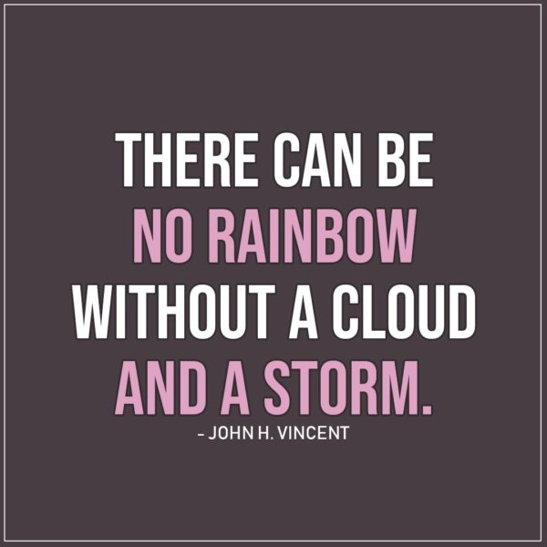 Sad Quote | There can be no rainbow without a cloud and a storm. - John H. Vincent