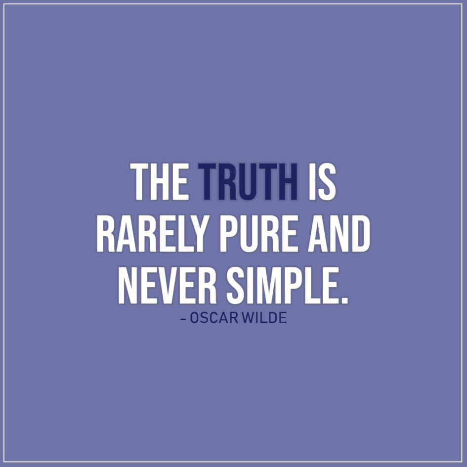 Quote about Truth | The truth is rarely pure and never simple. - Oscar Wilde
