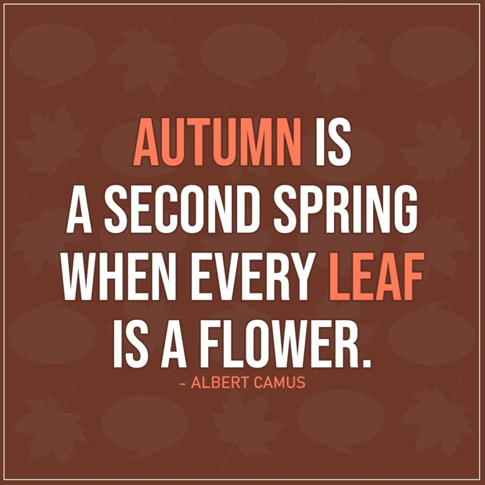 Quote about Fall | Autumn is a second spring when every leaf is a flower. - Albert Camus