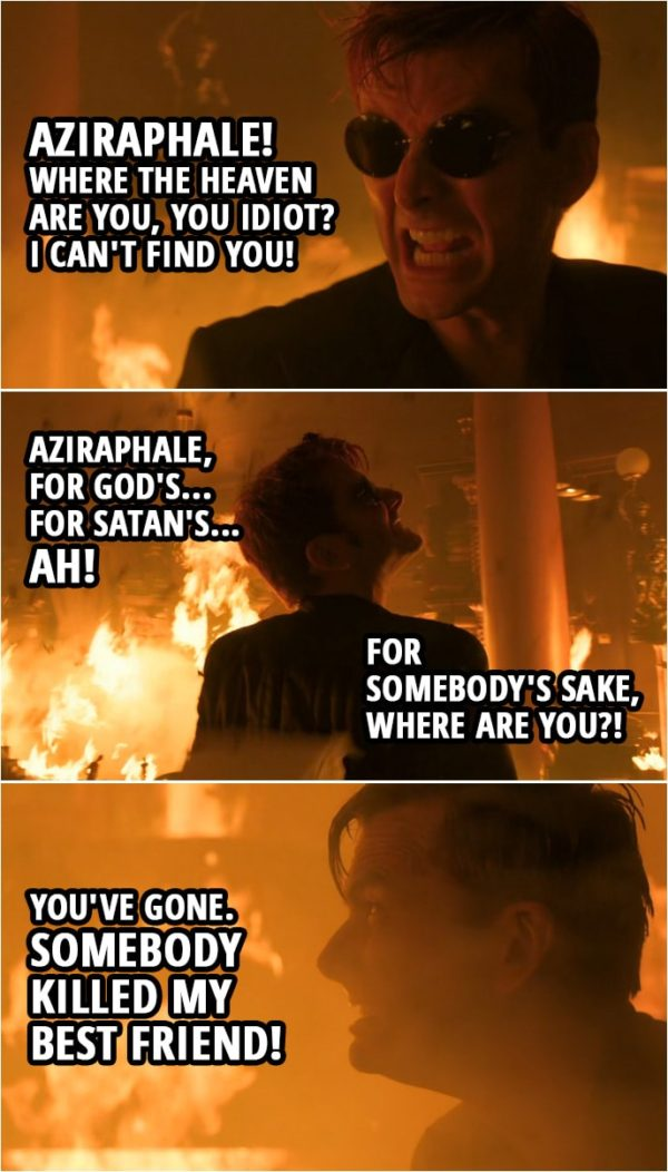 Quote from Good Omens 1x05 | (The bookshop is burning...) Crowley: Aziraphale! Aziraphale, where the Heaven are you, you idiot? I can't find you! Aziraphale, for God's... For Satan's... Ah! For somebody's sake, where are you?! You've gone. Somebody killed my best friend! Bastards! All of you!