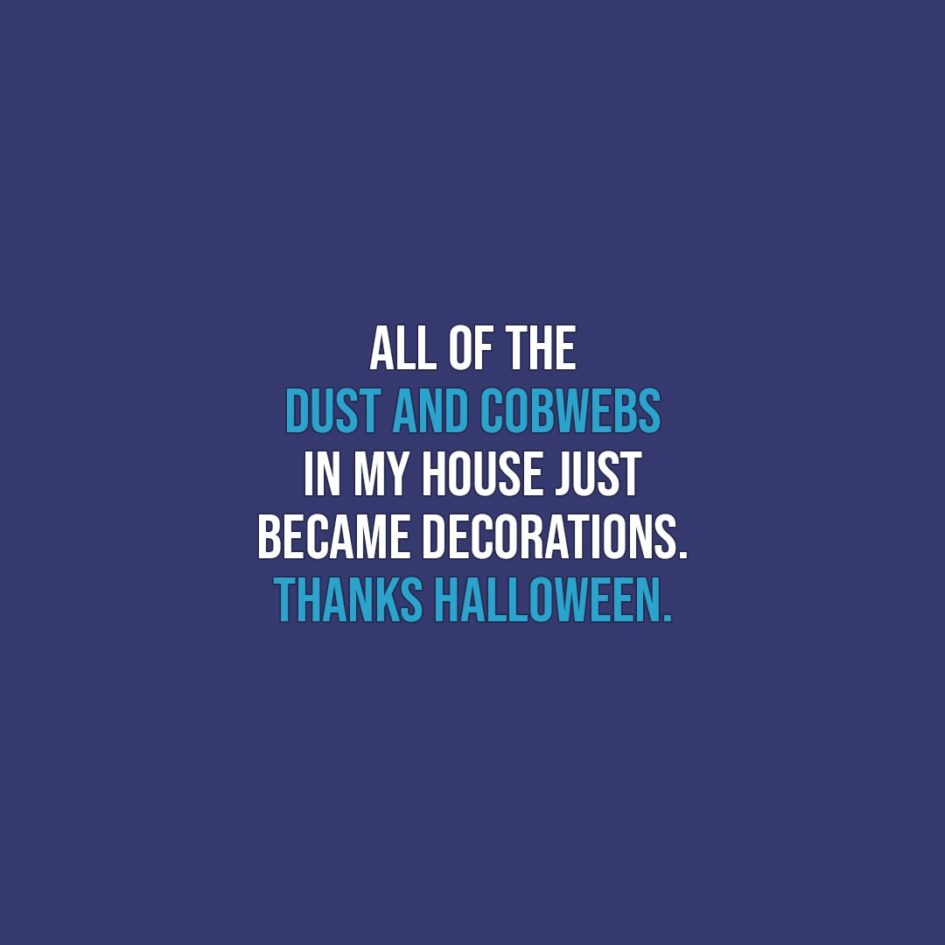Halloween Quotes | All of the dust and cobwebs in my house just became decorations. Thanks Halloween. - Unknown