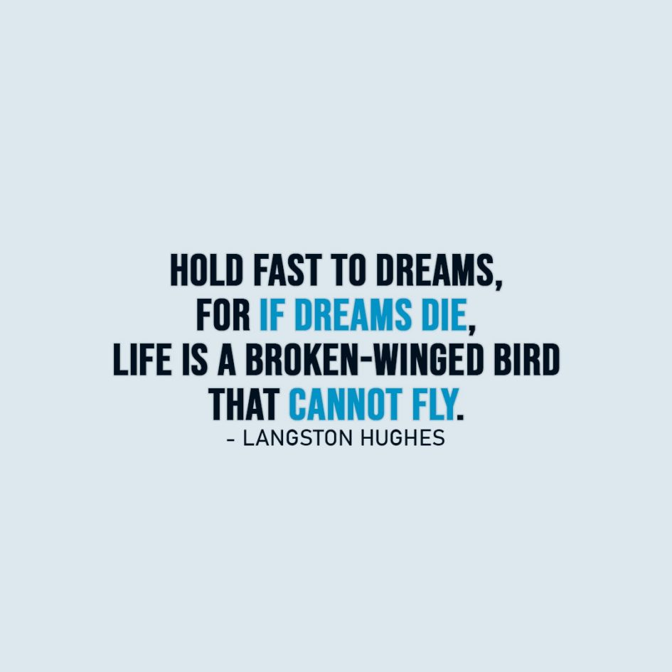 Dreams Quotes   Hold fast to dreams, for if dreams die, life is a broken-winged bird that cannot fly. - Langston Hughes