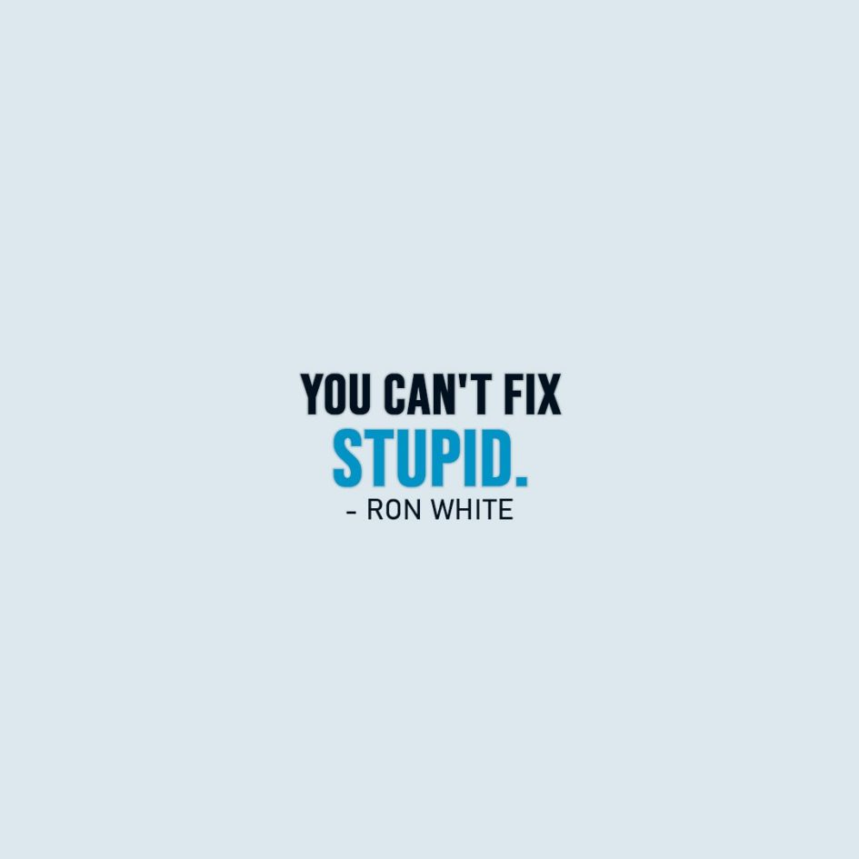 Famous Quotes | You can't fix stupid. - Ron White