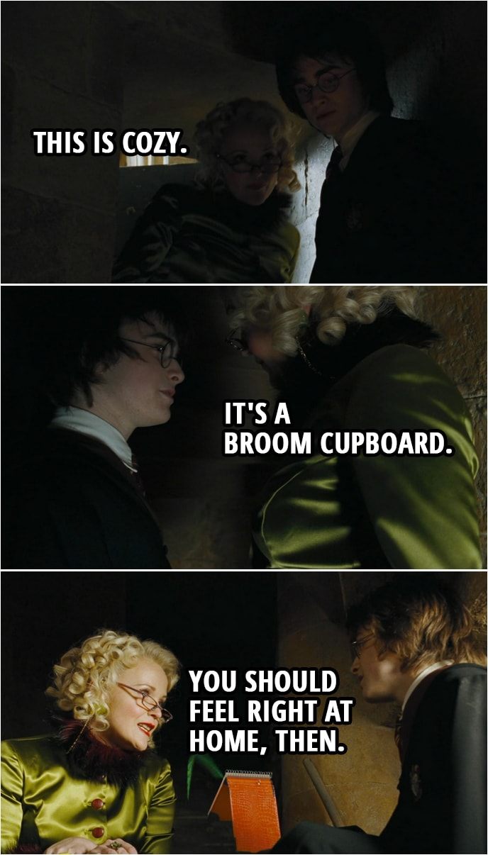 Quote from Harry Potter and the Goblet of Fire (2005) | Rita Skeeter: This is cozy. Harry Potter: It's a broom cupboard. Rita Skeeter: You should feel right at home, then.