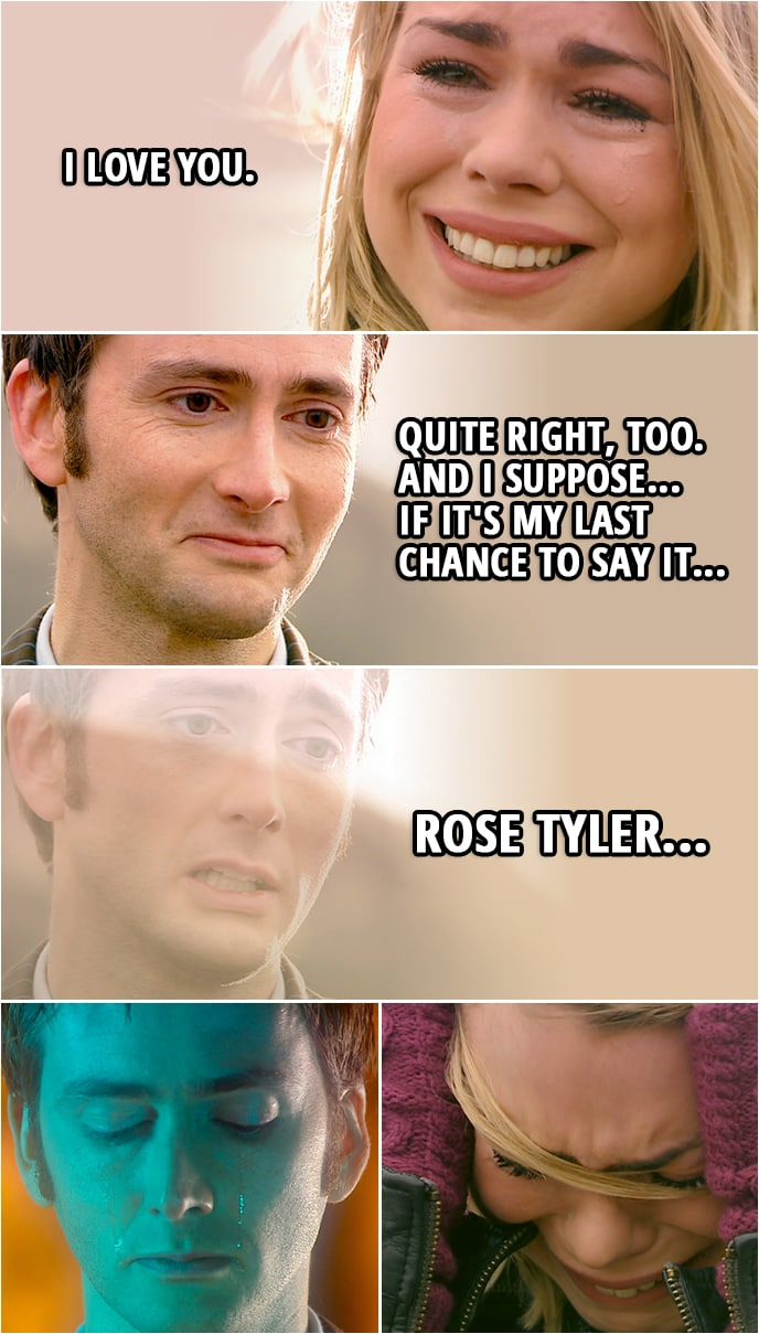 Quote from Doctor Who 2x13 | Rose Tyler: Am I ever going to see you again? Doctor: You can't. Rose Tyler: What are you going to do? Doctor: I've got the Tardis. Same old life. Last of the Time Lords. Rose Tyler: On your own? (Doctor nods) I... I love you. Doctor: Quite right, too. And I suppose... if it's my last chance to say it, Rose Tyler...