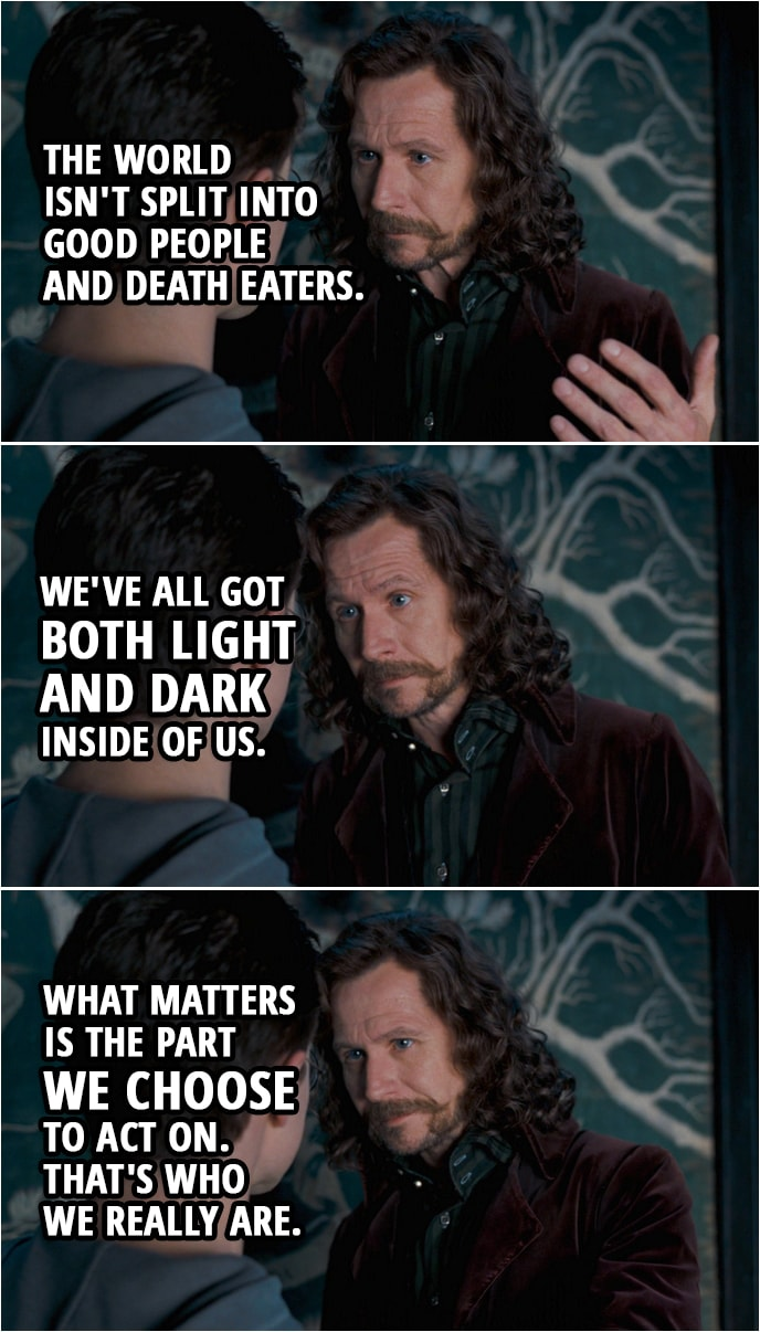 Quote from Harry Potter and the Order of the Phoenix (2007) | Harry Potter: Sirius, when I was... When I saw Mr. Weasley attacked, I wasn't just watching. I was the snake. And afterwards, in Dumbledore's office... there was a moment when I wanted to... This connection between me and Voldemort. What if the reason for it is that I am becoming more like him? I just feel so angry all the time. And what if, after everything that I've been through... something's gone wrong inside me? What if I'm becoming bad? Sirius Black: I want you to listen to me very carefully, Harry. You're not a bad person. You're a very good person who bad things have happened to. You understand? Besides, the world isn't split into good people and Death Eaters. We've all got both light and dark inside of us. What matters is the part we choose to act on. That's who we really are.