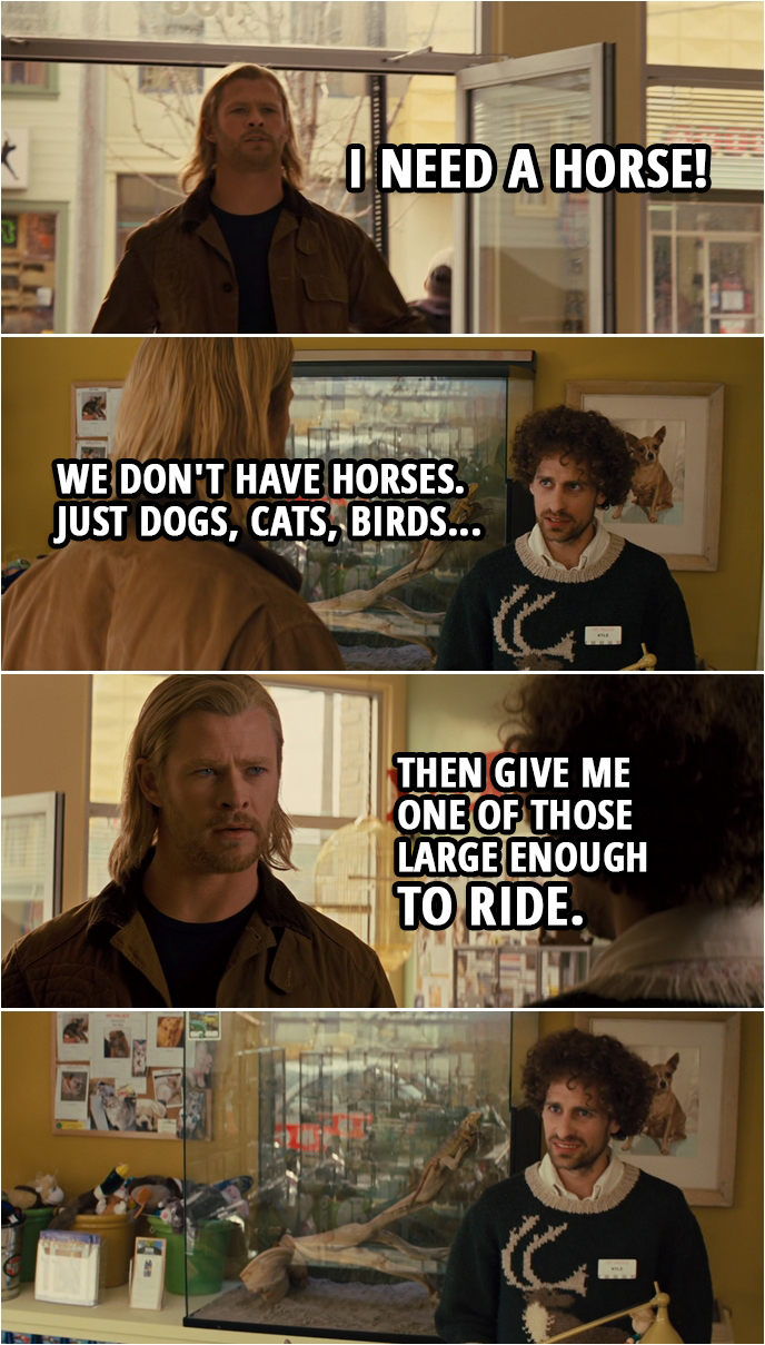 Quote from Thor (2011) | (Thor walks into a Pet Palace shop...) Thor: I need a horse! Shop assistant: We don't have horses. Just dogs, cats, birds... Thor: Then give me one of those large enough to ride.