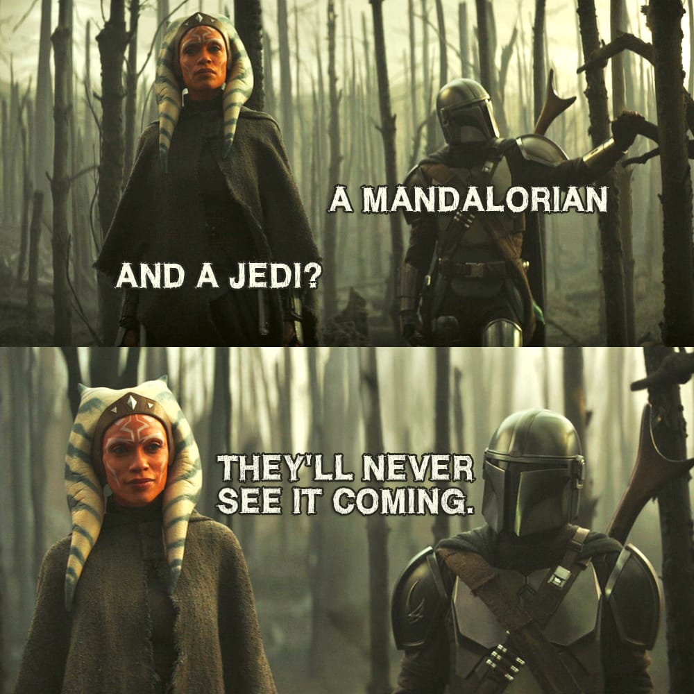Quote from The Mandalorian 2×05 |  Din Djarin (to Ahsoka): A Mandalorian and a Jedi? They'll never see it coming.