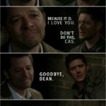 Quote from Supernatural 15x18   Castiel: Everything you have ever done, the good and the bad, you have done for love. You raised your little brother for love. You fought for this whole world for love. That is who you are. You're the most caring man on Earth. You are the most selfless, loving human being I will ever know. You know, ever since we met and ever since I pulled you out of Hell, knowing you has changed me. Because you cared, I cared. I cared about you. I cared about Sam. I cared about Jack. I cared about the whole world because of you. You changed me, Dean. Dean Winchester: Why does this sound like a goodbye? Castiel: Because it is. I love you. Dean Winchester: Don't do this, Cas. (The Empty shows up) Cas. Castiel: Goodbye, Dean. (The Empty takes Cas and Billie along with him...)