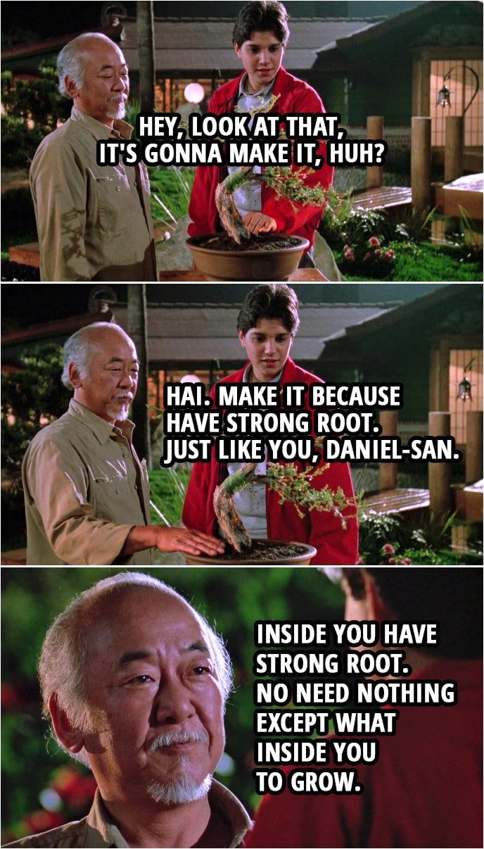 Quote from the movie The Karate Kid Part III (1989) | (The almost destroyed bonsai tree is looking better...) Daniel LaRusso: Hey, look at that, it's gonna make it, huh? Mr. Miyagi: Hai. Make it because have strong root. Just like you, Daniel-san. Inside you have strong root. No need nothing except what inside you to grow.