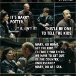 Quote from Harry Potter and the Deathly Hallows: Part 1 (2010) | (At the ministry, Ron as Cattermole...) Ron Weasley: Oh, my God. What am I gonna do? My wife's all alone downstairs. Harry Potter: Ron, you don't have a wife. Ron Weasley: Oh, right. (At the court room...) Mary Cattermole: It's Harry Potter. Ron Weasley: It is, isn't it? This'll be one to tell the kids. (Running from the ministry...) Ron Weasley: Mary, go home. Get the kids. I'll meet you there. We have to get out of the country, understand? Mary, do as I say. (Mary kisses him and Ron turns back into himself... the real Cattermole shows up...) Reginald Cattermole: Mary? Who's that? Ron Weasley: Long story. Nice meeting you.