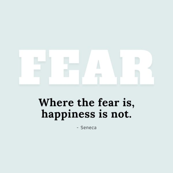 Quote about Fear   Where the fear is, happiness is not. - Seneca