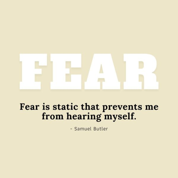 Quote about Fear   Fear is static that prevents me from hearing myself. - Samuel Butler