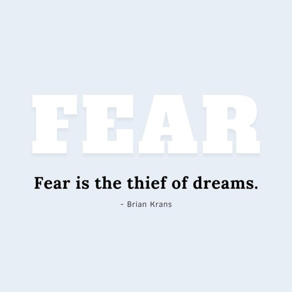 Quote about Fear | Fear is the thief of dreams. - Brian Krans