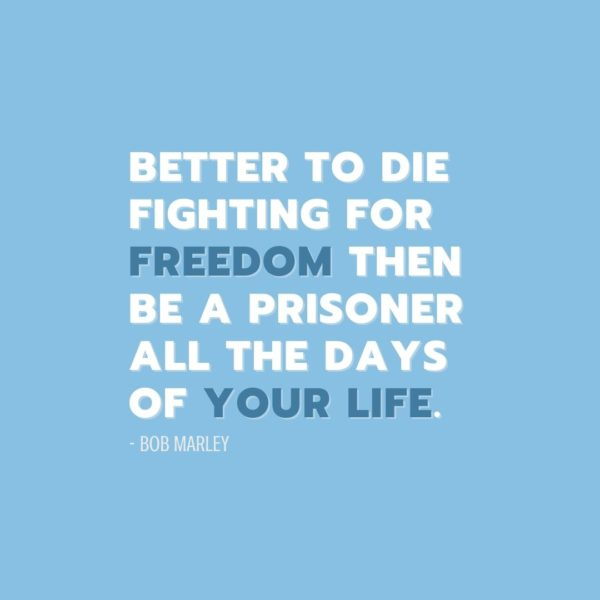Quote about Freedom | Better to die fighting for freedom then be a prisoner all the days of your life. - Bob Marley