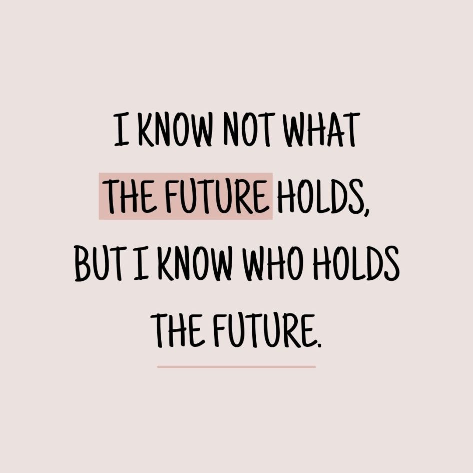 Quote about Future   I know not what the future holds, but I know who holds the future. - Proverb